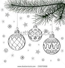 Vector Sketch Of Three Christmas Balls On Coniferous Branch Hand Draw Decorations