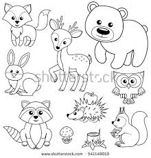 Forest Animals Fox Bear Raccon Hare Deer Owl Hedgehog