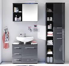trend moebel badmöbel 3 tlg set badezimmer hochschrank unterschrank spiegelschrank grau neu