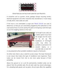100 Used Truck Scales Know How You Can Buy Truck Scales For Your Business By