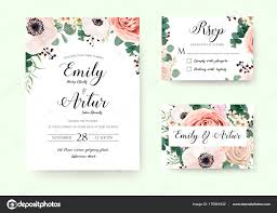 Wedding Invitation Floral Invite Rsvp Cute Card Vector Designs Set Garden Lavender Pink Peach Rose