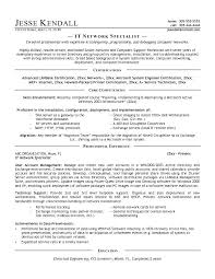 Sample It Resume Objectives Example Information Technology Network Specialist Template