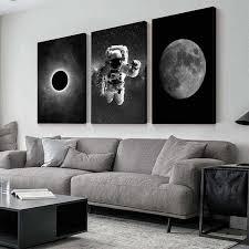 astronaut weltraum erde leinwand malerei schwarz weiß