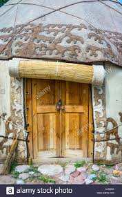 100 Nomad House Wooden Door Entrance To The Yurt A Traditional Nomad House Stock