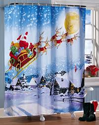 Brylane Home Bathroom Curtains by Amazon Com Santa U0027s Flight Christmas Bathroom Shower Curtain By