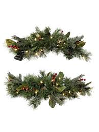 Pre Lit Christmas Tree Canada by Christmas Swag Windsor Pre Lit Window Swags Set Of 2