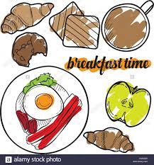 Breakfast Time Vector Sketch Set Hand Drawn Design Elements