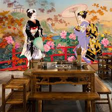Aliexpress Buy Tuya Art Wall Mural Japanese Style Beautiful Girl Picture For Decoration Restaurant Living Room Wallpapers From Reliable