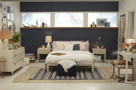 Bedroom Elegant Mid Century Modern Ideas Navy Blue Accent Wall