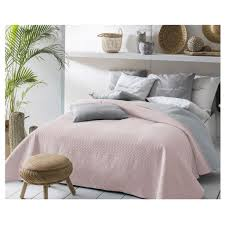tagesdecke bett sofaüberwurf gesteppt 220cm x 240cm rosa grau