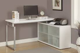 amazon com monarch hollow core l shaped desk with frosted glass