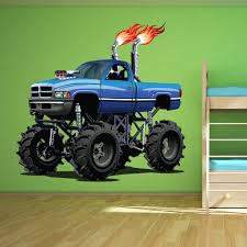 100 Monster Truck Bedroom Blue Wall Sticker Cool Vehicle Wall Decal Boys