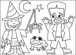 Cool Costumes Halloween Coloring Pages Printable Kids Hallowen