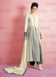 Off White Designer Wear Punjabi Pant Kameez Suit In Net G16443
