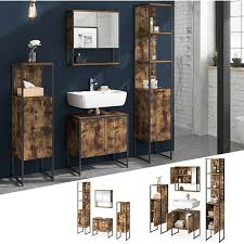 vicco loft badmöbel set fyrk vintage spiegelschrank badschränke waschtischunterschrank