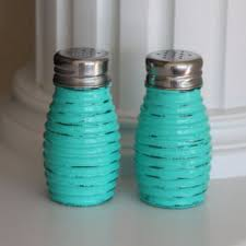 Shabby Chic Salt And Pepper Shakers Teal Kitchen Rustic