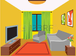 Living Room Cartoon With Furniture Vector Illustration