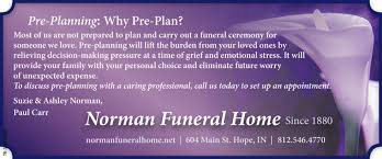 Planning Why Pre Plan Norman Funeral Home Hope IN