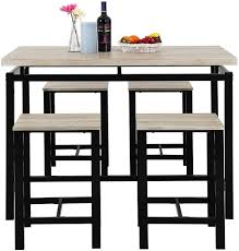 Mooseng Modern Yet Stylish 5 Piece Pub Table Set, Dining Height Table  Perfect For Bar, Kitchen, Breakfast Nook, Dining Room, Living Room Casual  ...