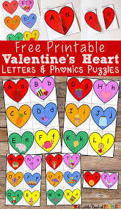 Valentine s Heart Letters and Phonics Puzzles Free Printable