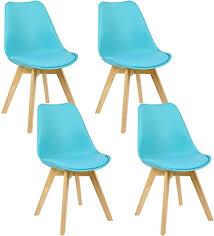 woltu 4er set esszimmerstühle küchenstuhl design stuhl esszimmerstuhl kunstleder holz blau bh29bl 4