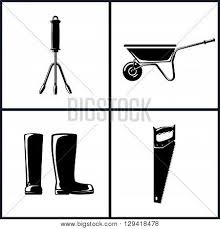 Set of Agricultural Tool Icons Garden and Landscaping Tools Icon Hand Rake Working