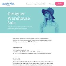 100 Designer Warehouse Sales Melbourne VIC Make A Wish Foundation Sale