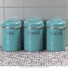 Tea Coffee Sugar Canister Set Blue