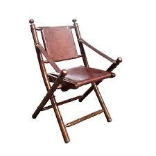 chaise pliante vintage en cuir et bambou achat vente chaise