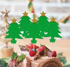 2018 Christmas Tree Design Paper Cupcake Toppers Cake Topper Decoration New Year Party Supplies From Tengdinggarden 3204