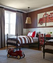 Elegant Brown Themed For Your Twin Boy Interior Bedroom Design Using Dark Wooden Single Bed