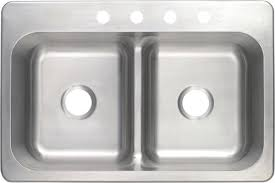 tuscany top mount 33 stainless steel 4 hole double bowl kitchen