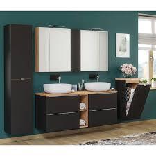 badezimmer unterschrank mit wäschekorb toskana black 56 in seidenmatt anthrazit b h t ca 35 80 35cm