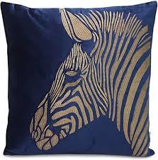 colmore kissen jungle blau grün gold samt kissen zebra