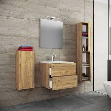 5 tlg waschplatz badmöbel badezimmer set waschtisch waschbecken schubladen keramik badinos spiegel braun vcm