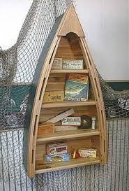 rustic wooden boat shelf via lakeviewcabindecor com coastal