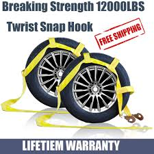 100 Truck Tow Dolly Car Straps Tire Basket Strap Snap Hook Heavy Duty Set
