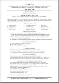 Dental Resumes Examples Assistant Resume Template