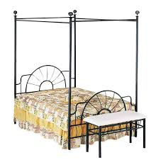 Twin Metal Canopy Bed Pewter With Curtains by Amazon Com Acme 02084f Sunburst Full Canopy Bed Hb Fb Black