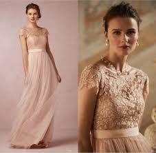 2017 cheap lace long bridesmaid dresses blush pink scoop short