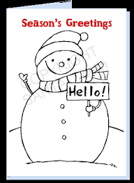 Print And Color A Snowman Card For Free