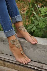 Crochet Tan Barefoot Sandals Nude Shoes Foot Jewelry