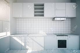 Modern White Kitchen Interior 3d Rendering Stockfoto Und Modern Design Of A White Kitchen Interior 3d Render
