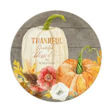 Thankful Grateful Blessed Rustic Wood Farmhouse Paper Plate