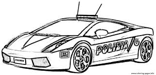 Police Car Lambourguini Sport Coloring Pages Printable