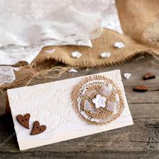 Rustic Wedding Invitation Card On Old Wooden Background Original Made Of Cardboard
