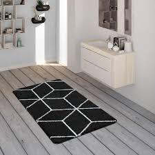 badematte mit rauten muster kurzflor teppich für badezimmer in schwarz weiß