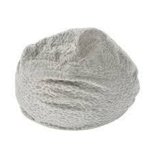 Noble House 3 Ft. Gray Pebble-Patterned Faux Fur Bean Bag ...