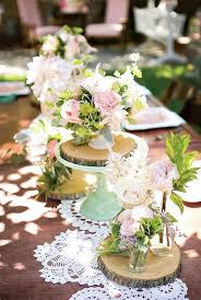 Lace And Wood Rounds Mint Pink Flowers Wedding Tablescape