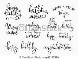 Happy Birthday lettering sign quote typography set vector